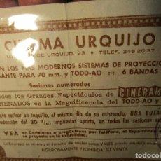 Cine: ENTRADA VALE PARA ANTIGUO DE CINE CINEMA URQUIJO MADRID CON SELLO OFICIAL. Lote 154142146