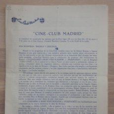 Cine: CINE CLUB MADRID - PROGRAMA DE SESIONES - MAYO 1963. Lote 154862874