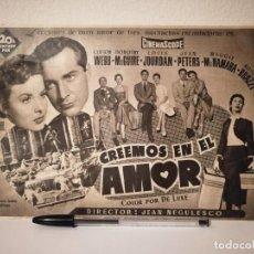 Cine: ANTIGUO ANUNCIO EN PRENSA - CREEMOS EN EL AMOR - DOROTHY MCGUIRE - JEAN PETERS. Lote 156011418