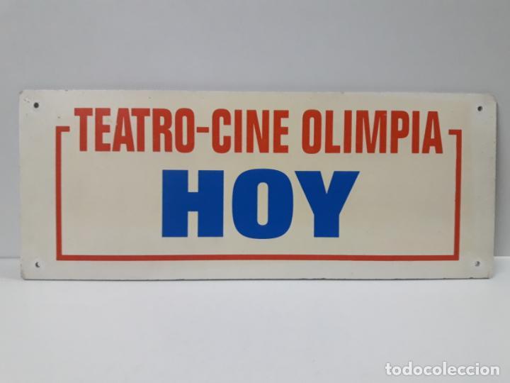 ORIGINAL CARTEL DE LA CARTELERA DEL TEATRO - CINE OLIMPIA DE HUESCA . TEATRO - CINE OLIMPIA HOY (Cine - Varios)