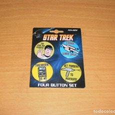 Cine: STAR TREK ATA-BOY FOUR BUTTON SET (LOTE 4 CHAPAS BASADAS EN STAR TREK ORIGINAL) TOS. Lote 160144622