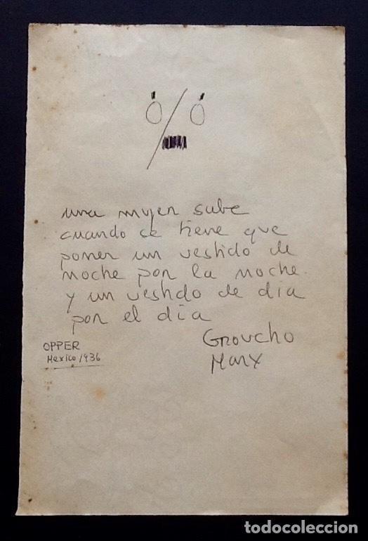 GROUCHO MARX. CURIOSO DIBUJO-FRASE-OPPER MEXICO 1936. ENVIO CERTIFICADO INCLUIDO. (Cine - Varios)