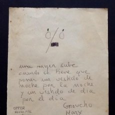 Cine: GROUCHO MARX. CURIOSO DIBUJO-FRASE-OPPER MEXICO 1936. ENVIO CERTIFICADO INCLUIDO.. Lote 162566474