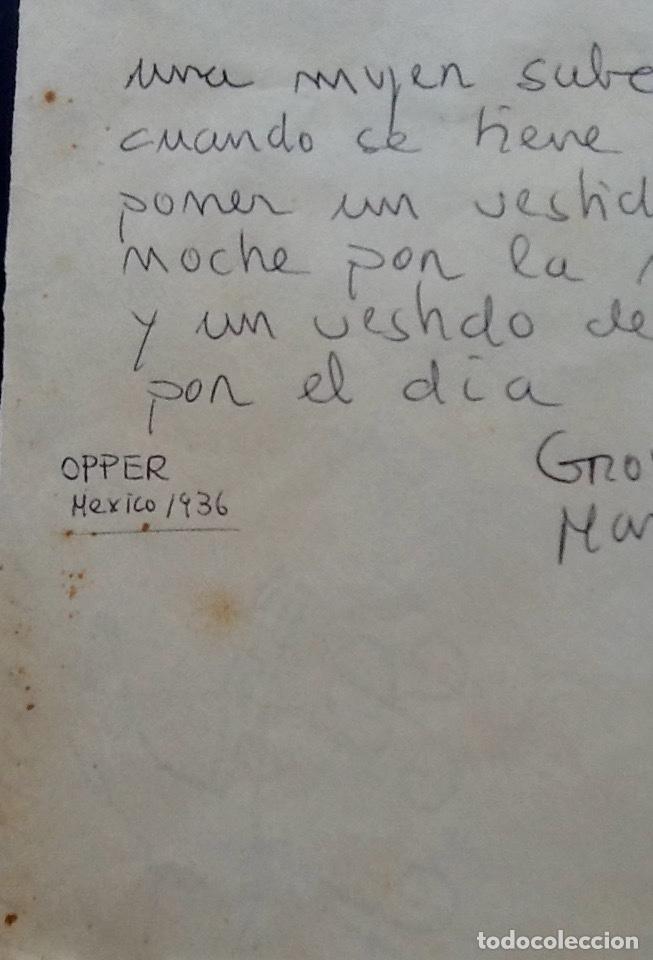 Cine: GROUCHO MARX. CURIOSO DIBUJO-FRASE-OPPER MEXICO 1936. ENVIO CERTIFICADO INCLUIDO. - Foto 3 - 162566474