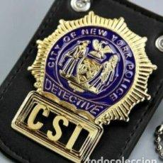 Cinema - INSIGNIA PLACA DE POLICIA DE DETECTIVE DEL CSI EN NEW YORK IDEAL PARA COLECCIONISTAS Y FANS DE CSI - 168590005
