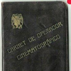 Cine: CARNET DE OPERADOR CINEMATOGRÁFICO DE 1949. Lote 169315132