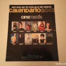Cine: CALENDARIO REVISTA CINEMANÍA DE 2001 CAMERON DIAZ, TOM CRUISE, WINONA RYDER. Lote 171147814