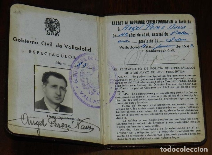 Cine: NTIGUO CARNET DE OPERADOR CINEMATOGRAFICO, OTORGADO POR EL GOBIERNO CIVIL DE VALLADOLID EN 1942, TAL - Foto 2 - 173110722