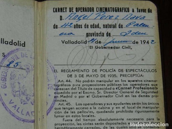 Cine: NTIGUO CARNET DE OPERADOR CINEMATOGRAFICO, OTORGADO POR EL GOBIERNO CIVIL DE VALLADOLID EN 1942, TAL - Foto 3 - 173110722