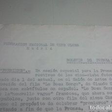 Cine: FEDERACIÓN NACIONAL DE CINE CLUBS - MADRID - BOLETÍN DE PRENSA Y RADIO Nº 4 - MUY CURIOSO - RAREZA. Lote 177611507