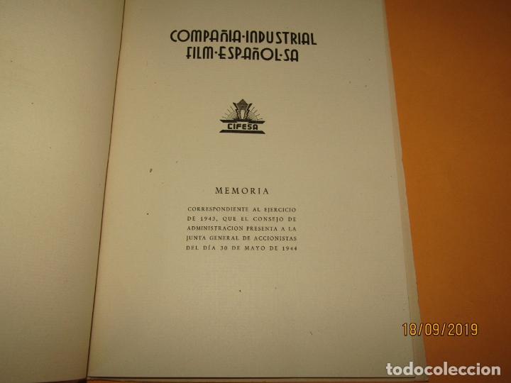 Cine: Antigua Memoria Balance de CIFESA Compañia Industrial Film Español S.A. del Año 1943 - Foto 3 - 177876789