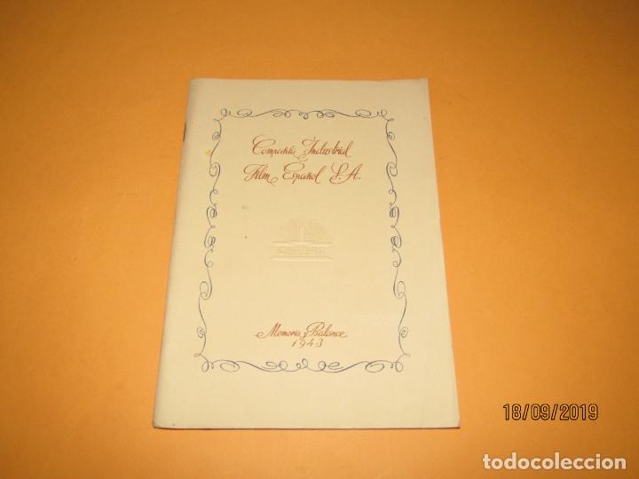 ANTIGUA MEMORIA BALANCE DE CIFESA COMPAÑIA INDUSTRIAL FILM ESPAÑOL S.A. DEL AÑO 1943 (Cine - Varios)