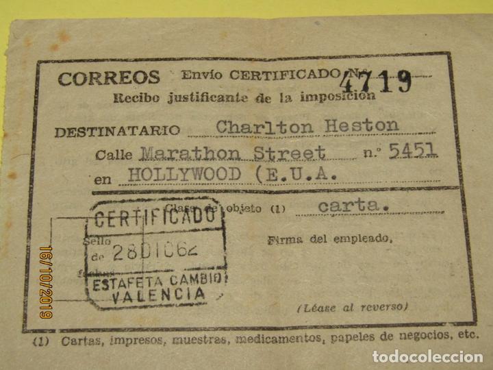Cine: Antiguo Recibo Justificante de un Envio a Estados Unidos de America a CHARLTON HESTON del Año 1962 - Foto 2 - 180448957