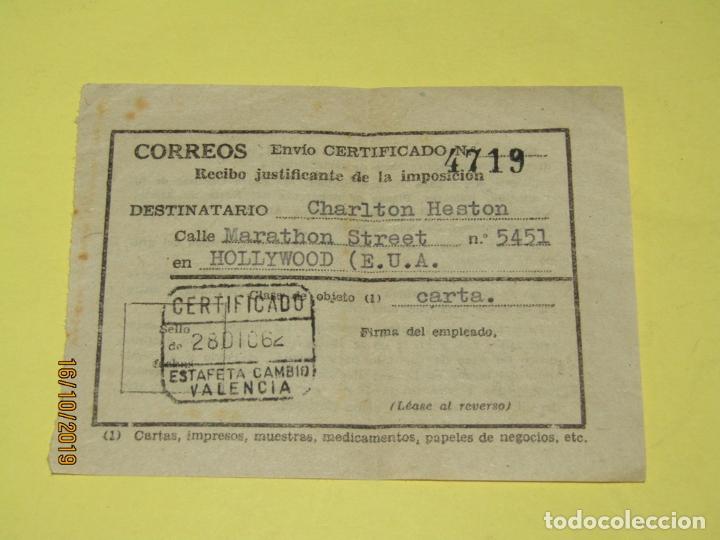 ANTIGUO RECIBO JUSTIFICANTE DE UN ENVIO A ESTADOS UNIDOS DE AMERICA A CHARLTON HESTON DEL AÑO 1962 (Cine - Varios)