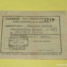 Cine: ANTIGUO RECIBO JUSTIFICANTE DE UN ENVIO A ESTADOS UNIDOS DE AMERICA A CHARLTON HESTON DEL AÑO 1962. Lote 180448957