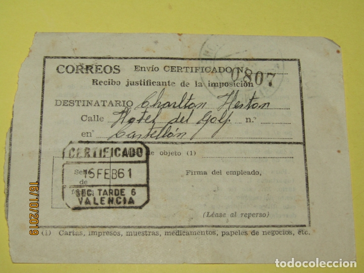 ANTIGUO RECIBO JUSTIFICANTE DE UN ENVIO AL HOTEL DEL GOLF A CHARLTON HESTON DEL AÑO 1961 (Cine - Varios)