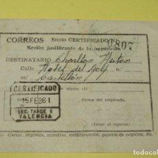 Cine: ANTIGUO RECIBO JUSTIFICANTE DE UN ENVIO AL HOTEL DEL GOLF A CHARLTON HESTON DEL AÑO 1961. Lote 180449272