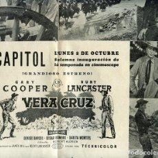 Cine: PAGINA CENTRAL REVISTA AÑOS 50 CON PUBLICIDAD PELÍCULA VERA CRUZ CON GARY COOPER Y BURT LANCASTER. Lote 192580407