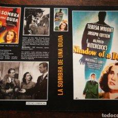 Cine: CARATULA PELÍCULA LA SOMBRA DE UNA DUDA (A. HITCHCOCK)- VHS, BETA.. Lote 194286240