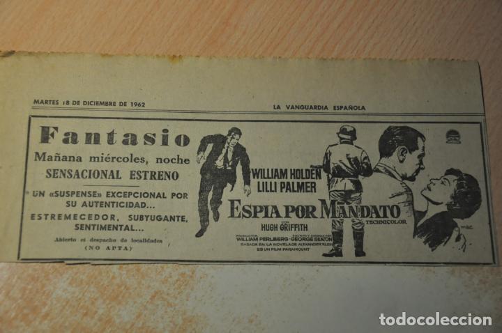 ANUNCIO PELICULA ESPIA POR MANDATO (Cine - Varios)