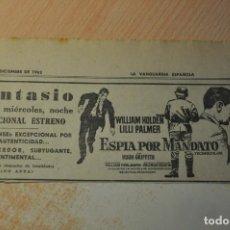 Cine: ANUNCIO PELICULA ESPIA POR MANDATO. Lote 194403570