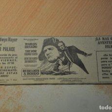 Cine: ANUNCIO PELICULA REBELION A BORDO. Lote 194403630