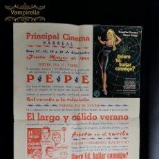 Cine: CARTEL CINE PRINCIPAL CINEMA SARREAL -TARRAGONA -PROYECCIONES FIESTA MAYOR 1962 . Lote 196639235