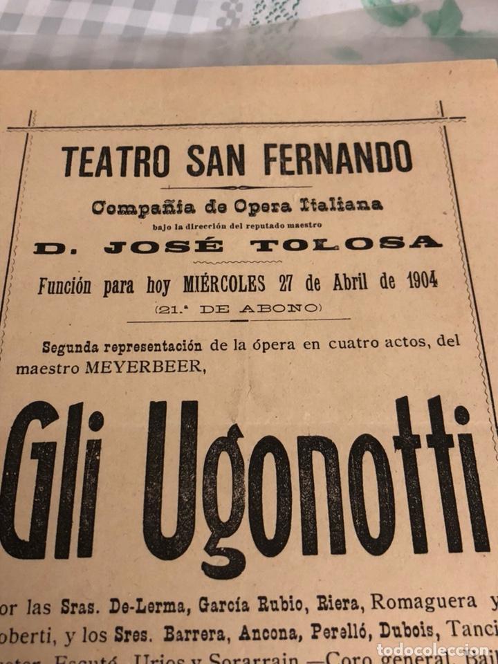 Cine: Antiguo programa de teatro De San Fernando sevilla 1904 - Foto 2 - 197791772