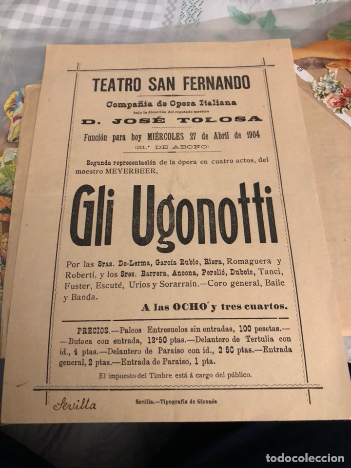 ANTIGUO PROGRAMA DE TEATRO DE SAN FERNANDO SEVILLA 1904 (Cine - Varios)