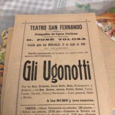 Cine: ANTIGUO PROGRAMA DE TEATRO DE SAN FERNANDO SEVILLA 1904. Lote 197791772