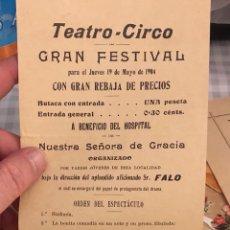 Cine: ANTIGUO PROGRAMA DE TEATRO, TEATRO CIRCO, 1904. Lote 197791866