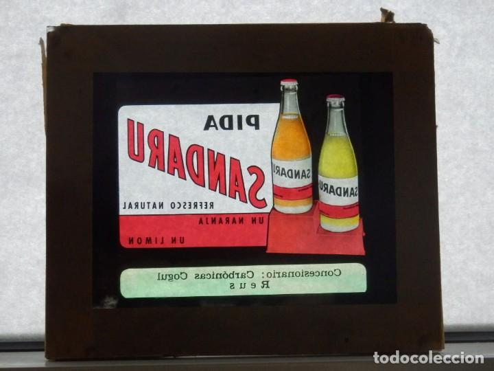 Cine: Diapositiva cristal publicidad Cine refresco Sandaru Carbonicas Cogul Reus años 50 o 60 - Foto 2 - 203819113