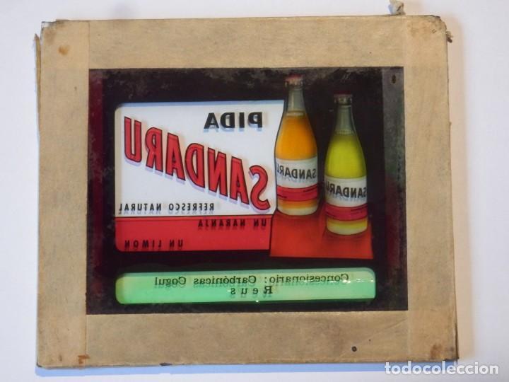 Cine: Diapositiva cristal publicidad Cine refresco Sandaru Carbonicas Cogul Reus años 50 o 60 - Foto 4 - 203819113