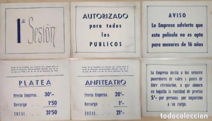 ANUNCIOS EN TAQUILLA DE CINE AÑOS 50-60 (Cine - Varios)