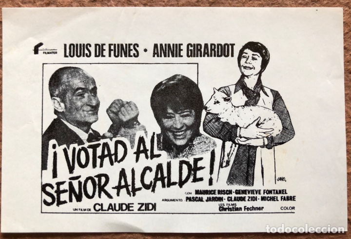 ¡VOTAD AL SEÑOR ALCALDE!. ANTIGUO CLICHÉ DE PRENSA. CLAUDE ZIDI, LOUIS DE FUNES,.. (Cine - Varios)