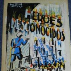 Cine: 2 PORTADAS ORIGINALES DE CINE ILUSTRADO POR JUAN FREXE - HEROES DESCONOCIDOS Y AGENTE SECRETO. Lote 210731386