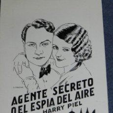 Cine: DIBUJO PORTADA ORIGINAL DE CINE ILUSTRADO LISBONA - AGENTE SECRETO O EL ESPIA DEL AIRE. Lote 210732561