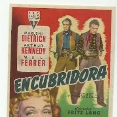 Cinema: PROGRAMA CINE ENCUBRIDORA MARLENE DIETRICH ARTHUR KENNEDY MEL FERRER DIRECTOR FRITZ LANG. Lote 217210851