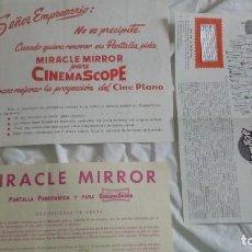 Cine: 3 FOLLETOS DE PUBLICIDAD DE CINE CON MUESTRA - MIRACLE MIRROR PARA PANTALLA PANORAMICA CINEMA SCOPE. Lote 219518807