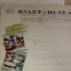 Cine: CARTA COMERCIAL DE BALET Y BLAY CON 4 DIBUJOS DE GARBANCITO DE LA MANCHA. Lote 219521476