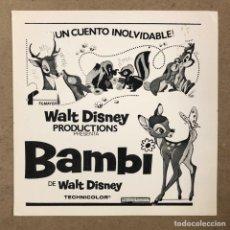 Cine: BAMBI (WALT DISNEY). ANTIGUO CLICHÉ DE PRENSA.. Lote 219910931