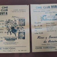 Cine: 2 FULLETONS CINE CLUB HORTA 1973 - DOB. Lote 221815613