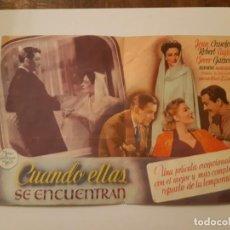 Cine: CUANDO ELLAS SE ENCUENTRA, PROGRAMA DE CINE DEL CINEMA PRINCIPE DE VIANA DE PAMPLONA AÑOS 40. Lote 221827527