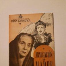 Cine: ABNEGACION DE MADRE , PROGRAMA DE MANO DE CINE DEL CINEMA PRINCIPE DE VIANA DE PAMPLONA AÑOS 40. Lote 221827735