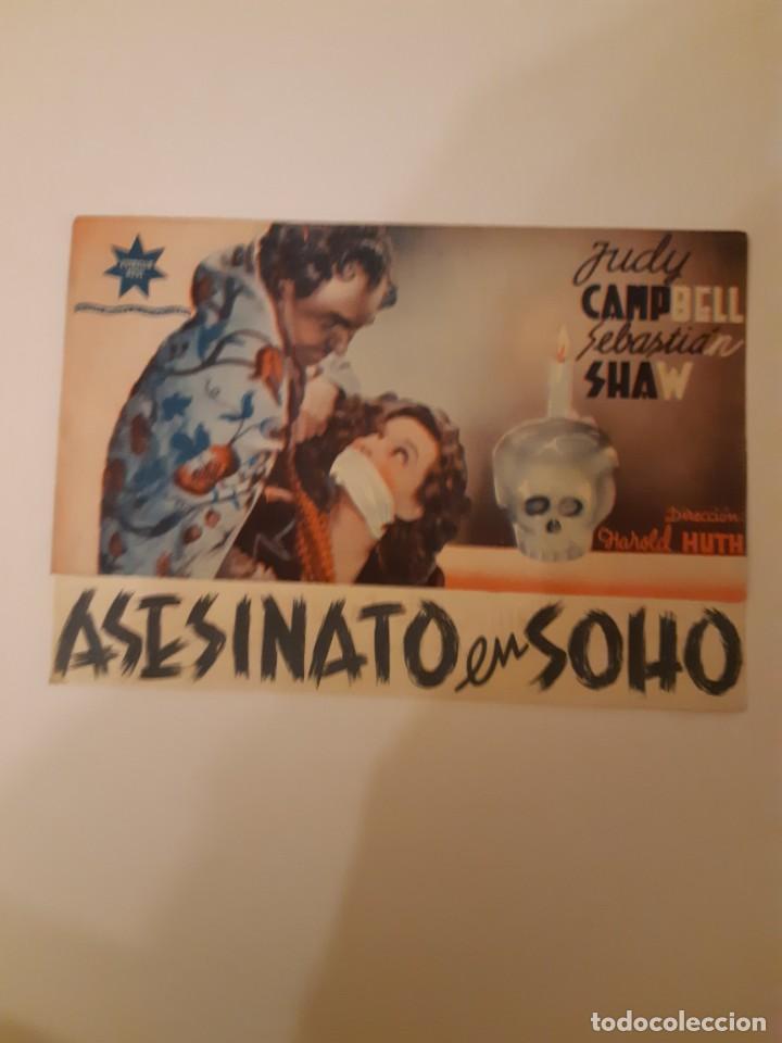 ASESINATO EN SOHO , PROGRAMA DE MANO DE CINE, DEL CINEMA PRINCIPE DE VIANA DE PAMPLONA AÑOS 40 (Cine - Varios)