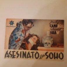 Cine: ASESINATO EN SOHO , PROGRAMA DE MANO DE CINE, DEL CINEMA PRINCIPE DE VIANA DE PAMPLONA AÑOS 40. Lote 221829353