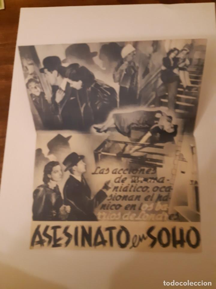 Cine: ASESINATO EN SOHO , PROGRAMA DE MANO DE CINE, DEL CINEMA PRINCIPE DE VIANA DE PAMPLONA AÑOS 40 - Foto 2 - 221829353