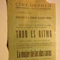 Cine: PROGRAMA CINE ORPHEO-LA CANONJA TARRAGONA -TEMPORADA 1945-46. Lote 224676291