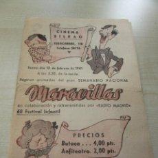 Cine: PROGRAMA CINEMA BILBAO DE MADRID ESPECTÁCULO MARAVILLAS 13 DE FEBRERO 1941 VER DESCRIPCIÓN. Lote 228395315