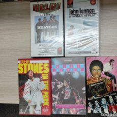 Cine: 5 VHS MÚSICA THE STONES IN THE PARK, MICHAEL JACKSON IN CONCERT Y LA LEYENDA CONTINÚA, BEATLES, JOHN. Lote 245080245